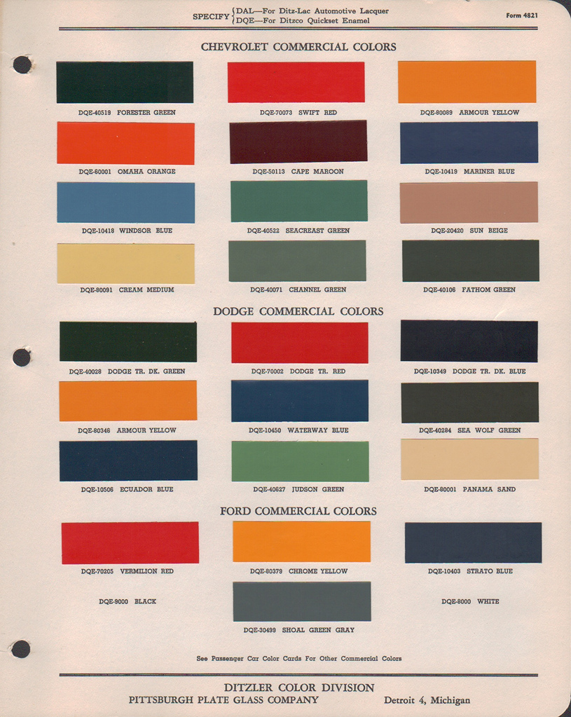 Paint Chips 1947 Chev Truck Fleet Commerical