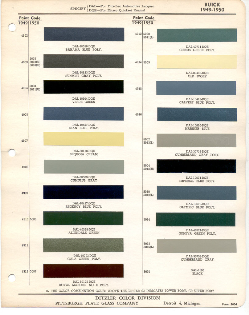 Page 1: 1950 GM Buick exterior paint chips