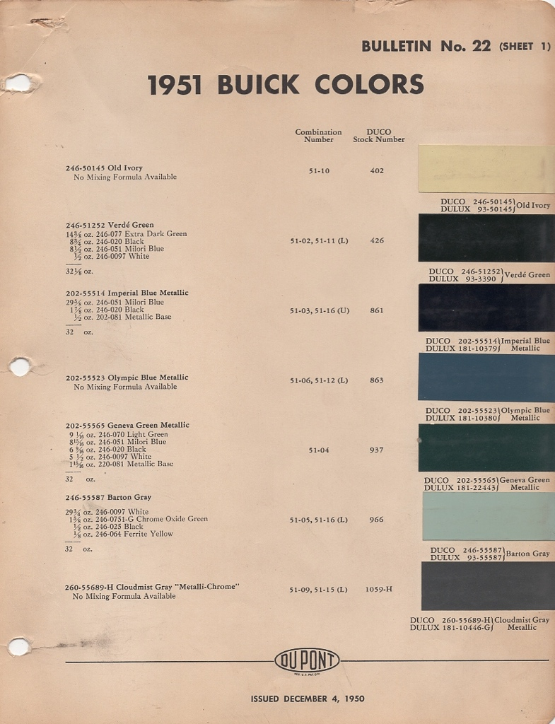 Paint Chips 1951 Gm Buick Chevrolet Colors Chip Pages Are Presented For Research Use Only Company Marks Emblems And Page Design Trademarks Or Service Of Dupont