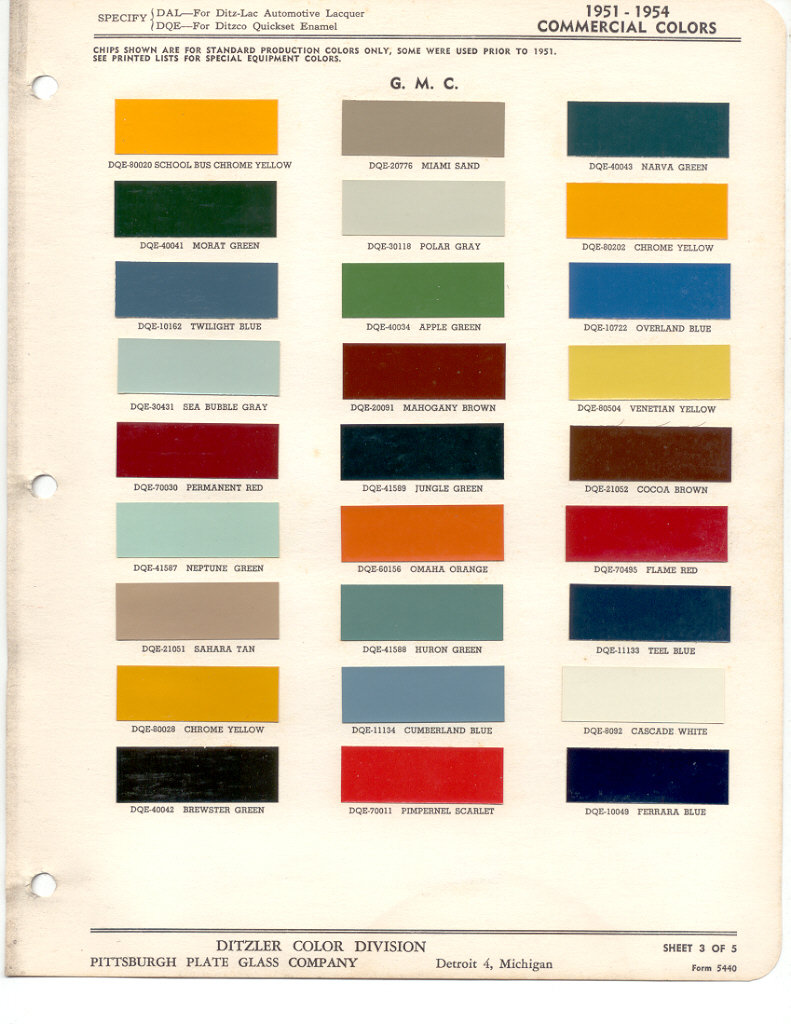 Paint Chips 1951 Gmc Chevy Truck