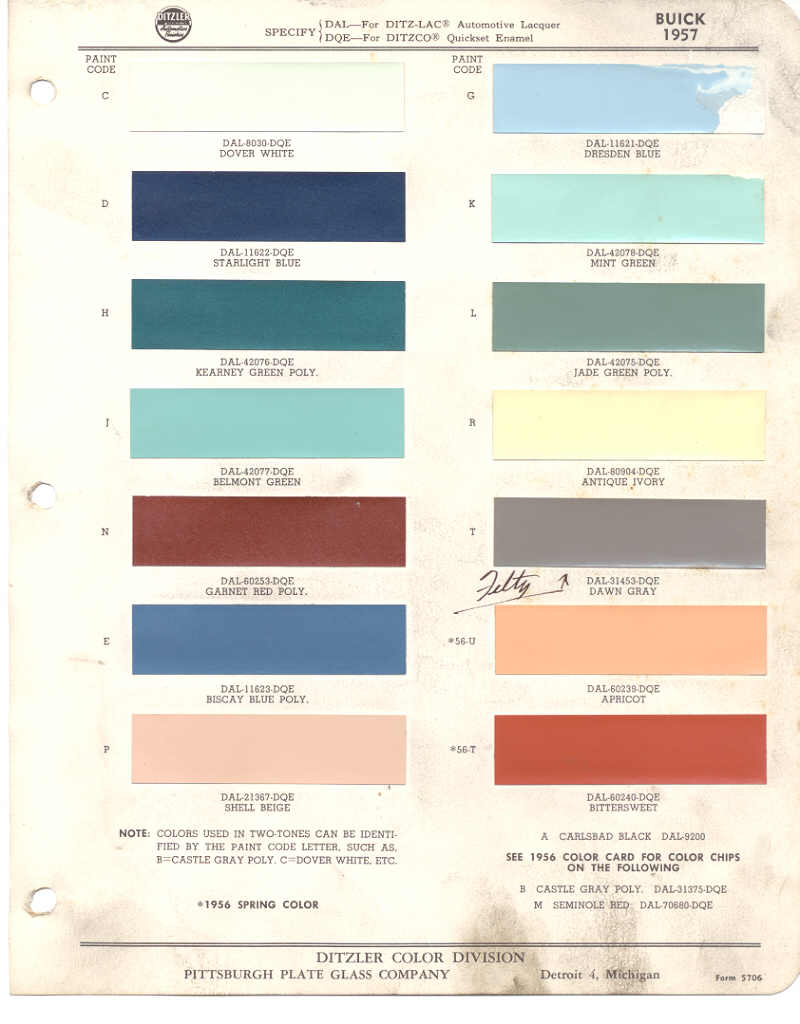 Paint Chips 1957 Buick