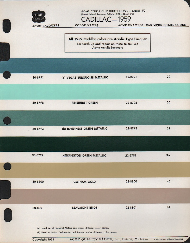 Paint Chips 1959 Oldsmobile