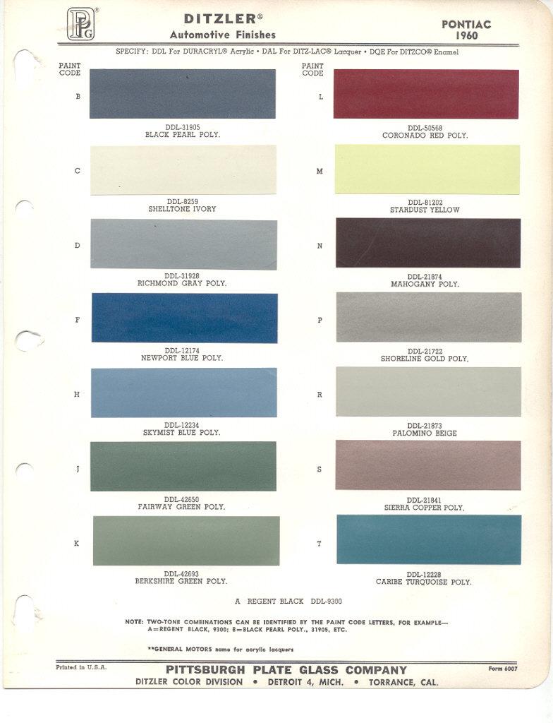 Pontiac Paint Codes