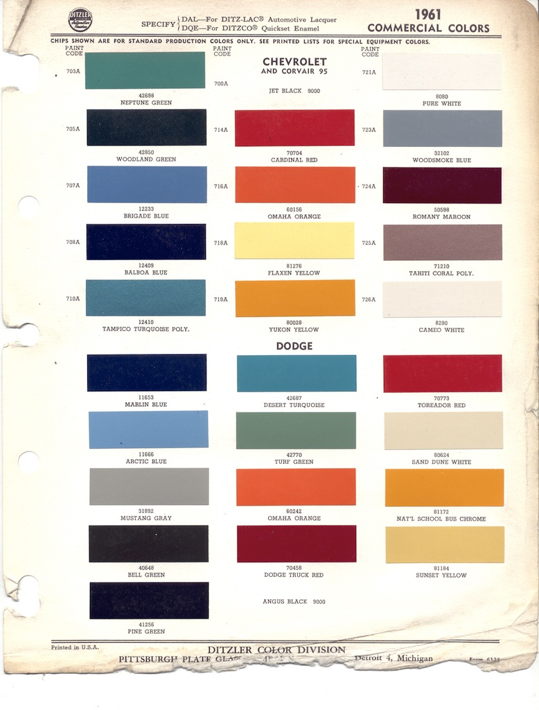 1961 chevrolet truck paint colors wiring diagrams