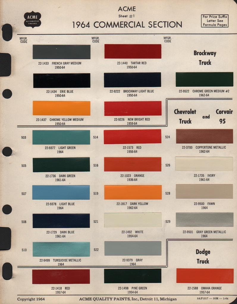 Paint Chips 1964 Dodge Truck