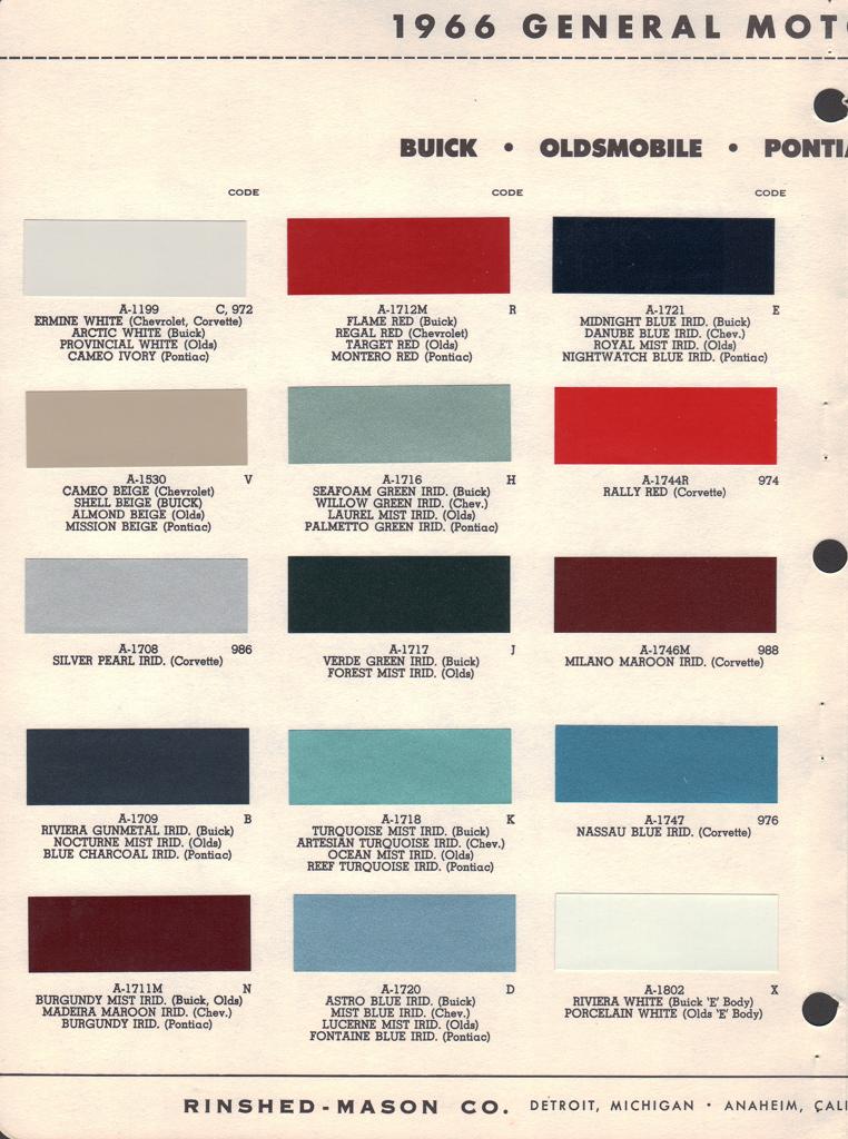 Oldsmobile Paint Colors