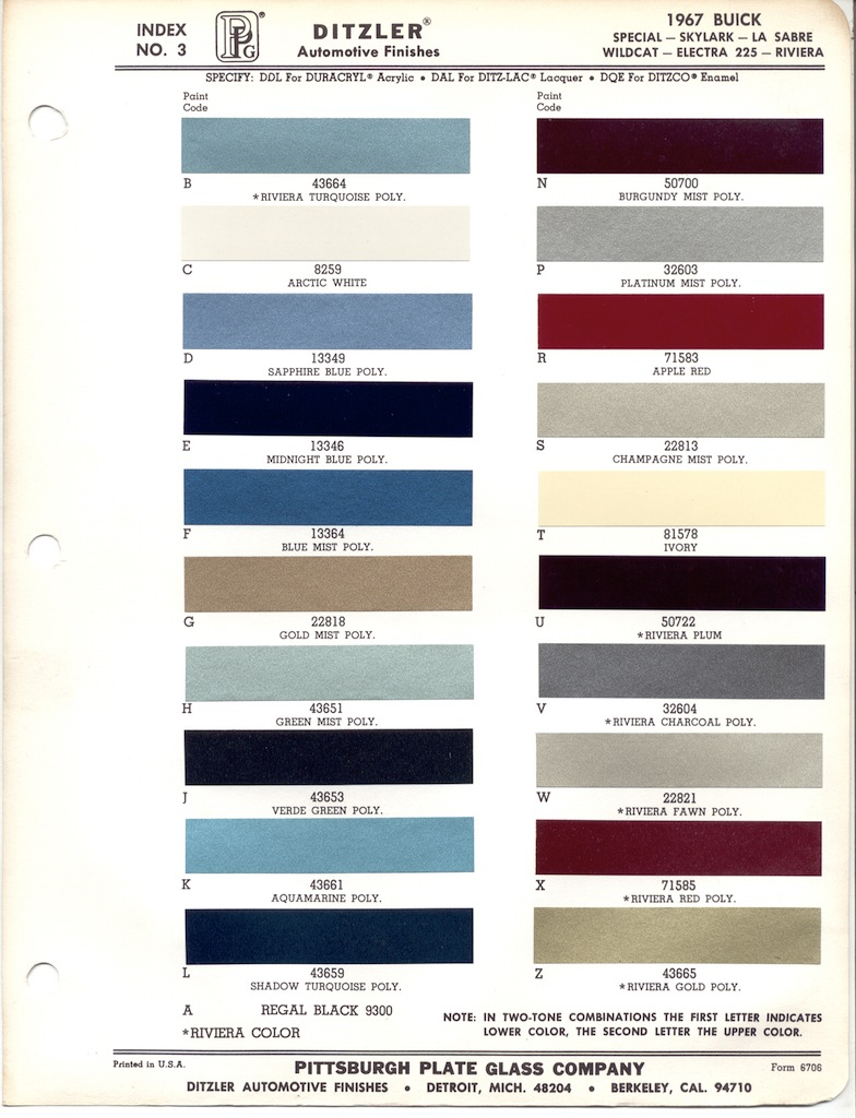 Gm Paint Codes >> Paint Chips 1967 Buick