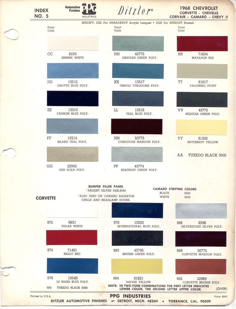Correct Paint Team Camaro Tech - 1969 camaro paint codes colors