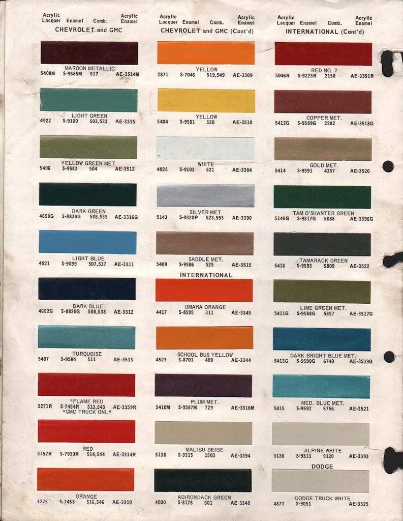 1969 Gmc Truck Paint Chips 1969 Gmc Amp Chevy Truck