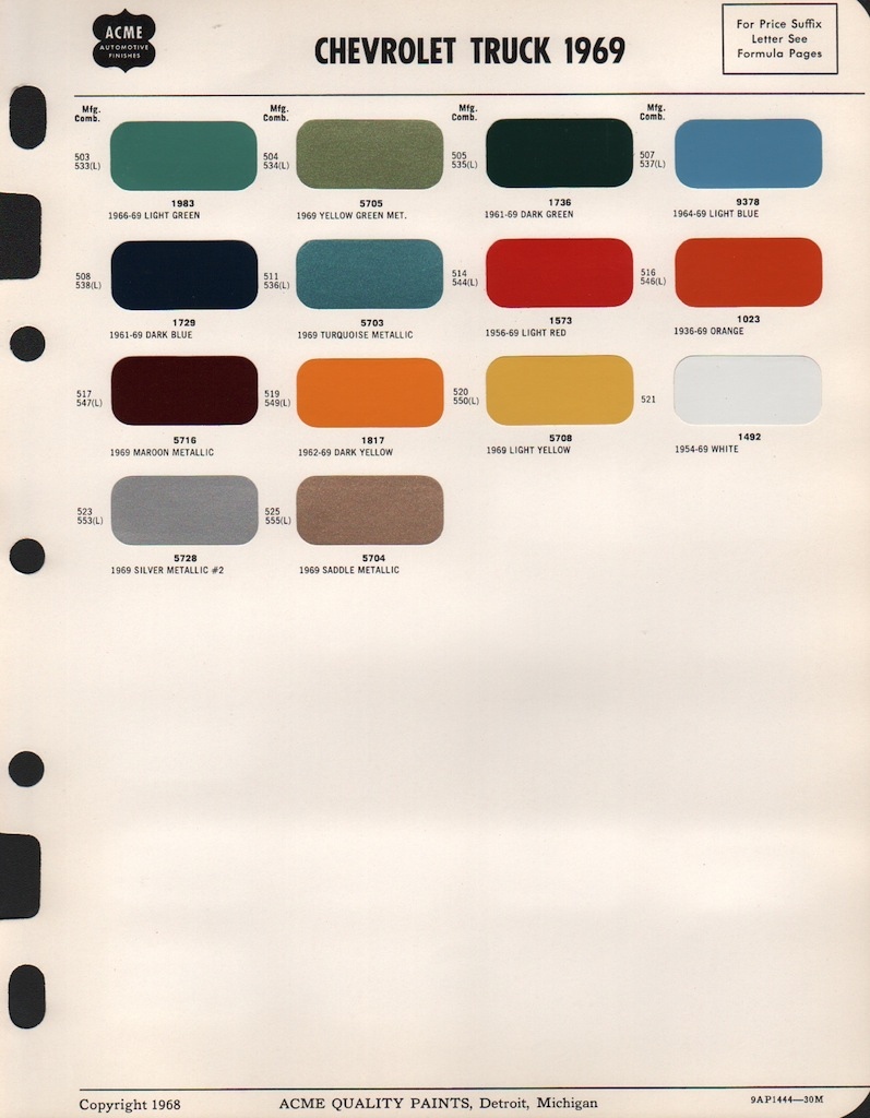 1969 Chevrolet Truck Paint Colors Wiring Diagrams 1968 Dodge Color Chips 1974 Lotus Rh Paintref Com Camaro Chart Chevelle