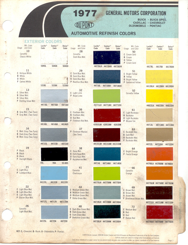 Gm Paint Chip Colors Autos Post