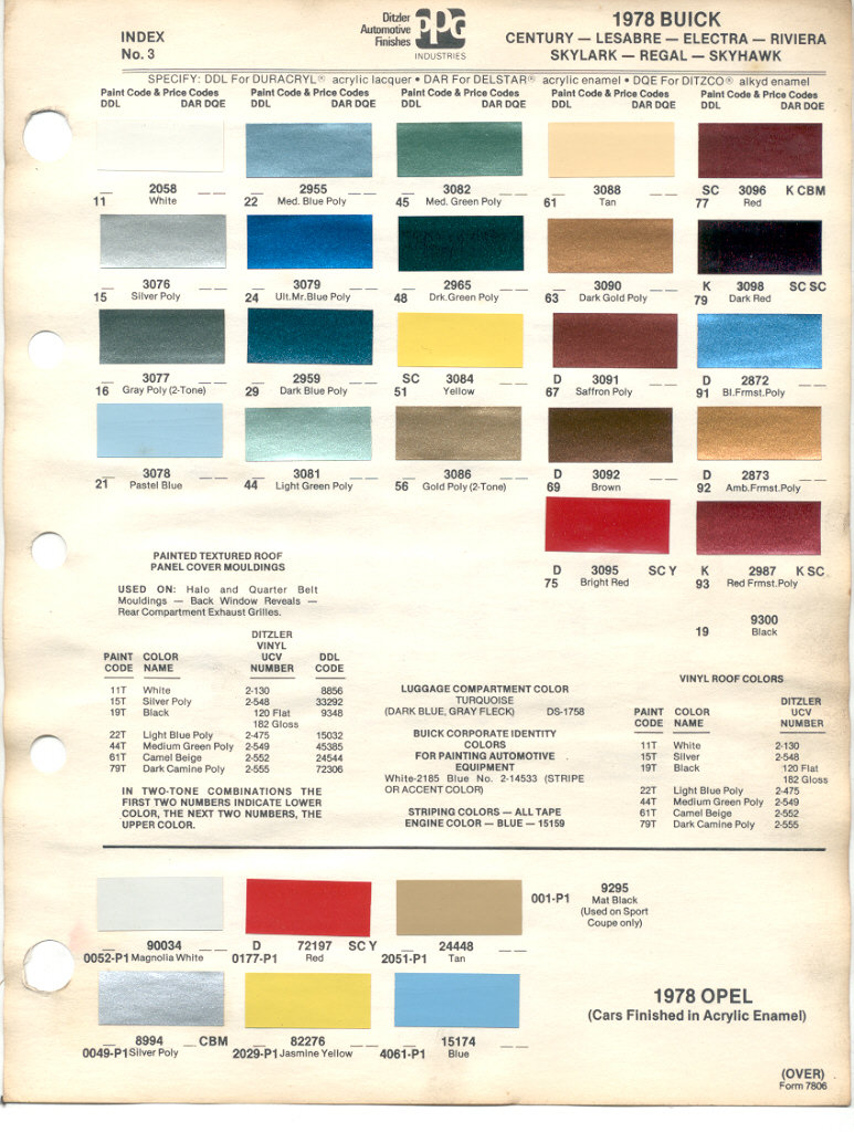 Paint chips 1978 buick century lesabre electra riviera skylark paint chip pages are presented for research use only company marks emblems and page design are trademarks andor service marks of ppg nvjuhfo Choice Image