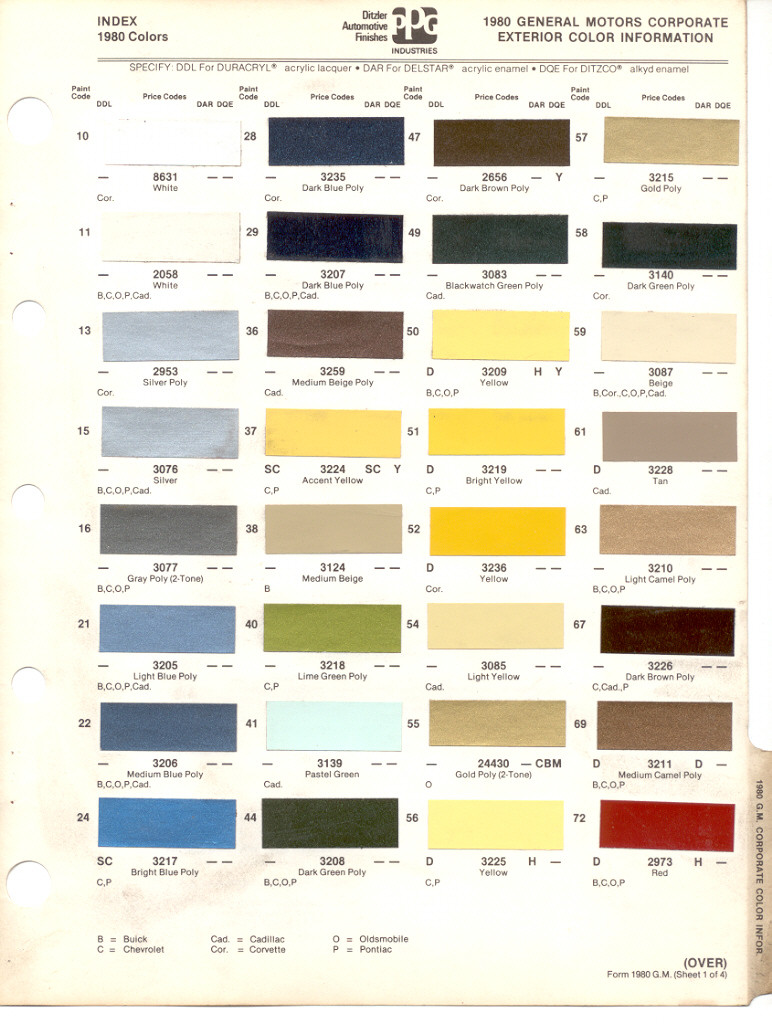 Gm Paint Codes >> Paint Chips 1980 Gm Buick