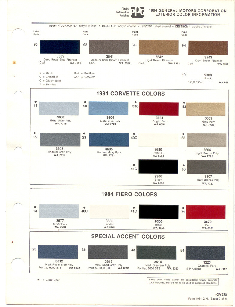 paint chips 1984 gm buick