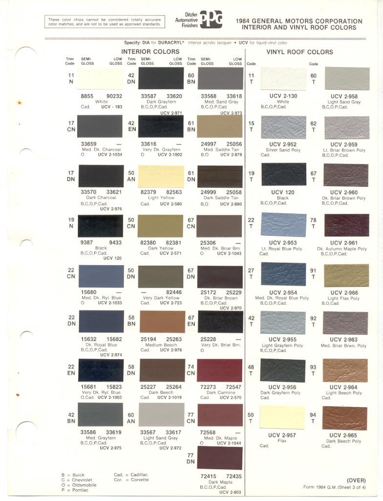 Gm Paint Codes >> Gm Paint Colors