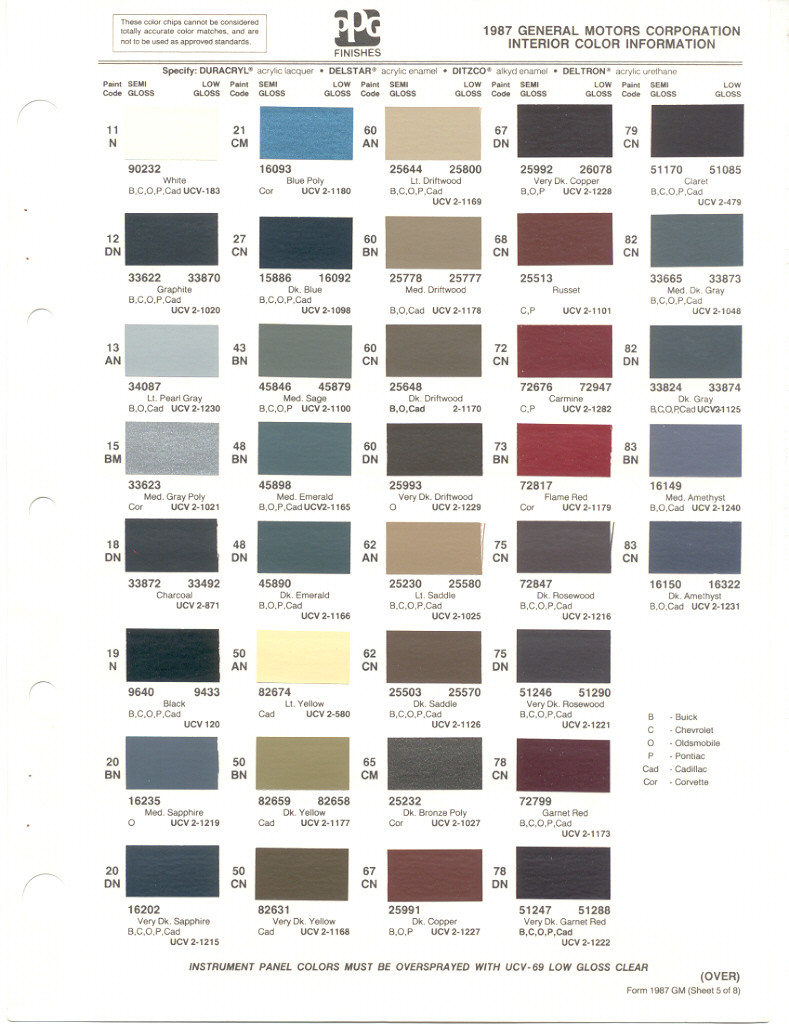 Paint Chips 1987 Gm Chevy Truck 1951 Chevrolet Colors