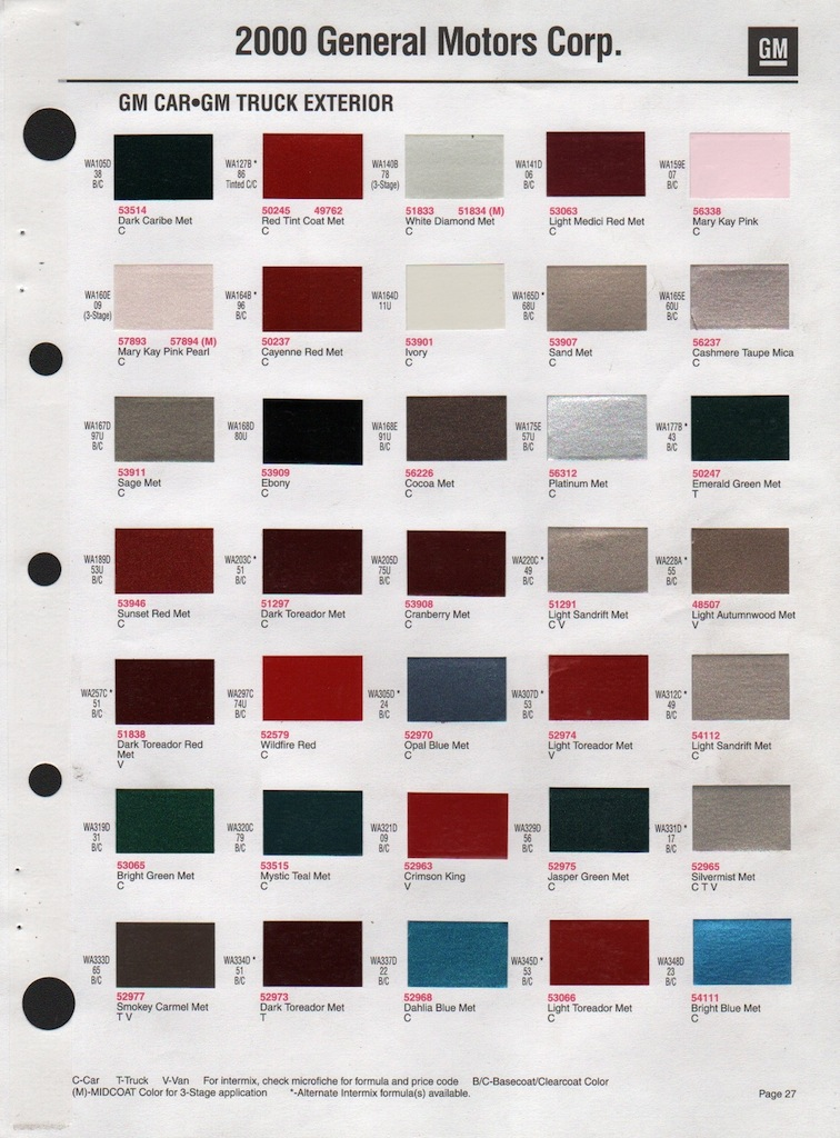 Gm Engine Paint Color Chart on 2003 chevy impala graphics