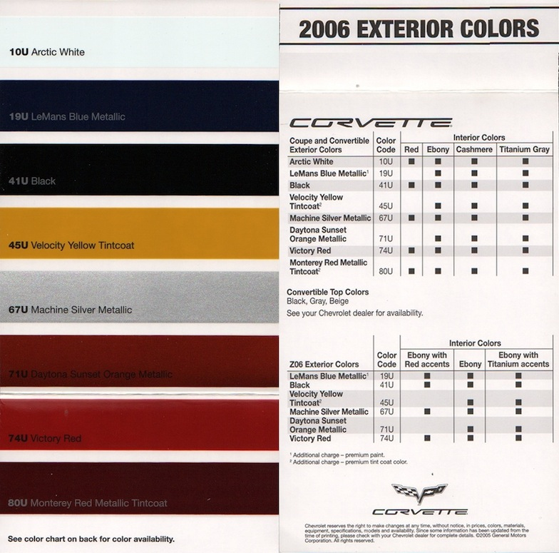 Chevy Color Chart on 2004 subaru radio wire diagram