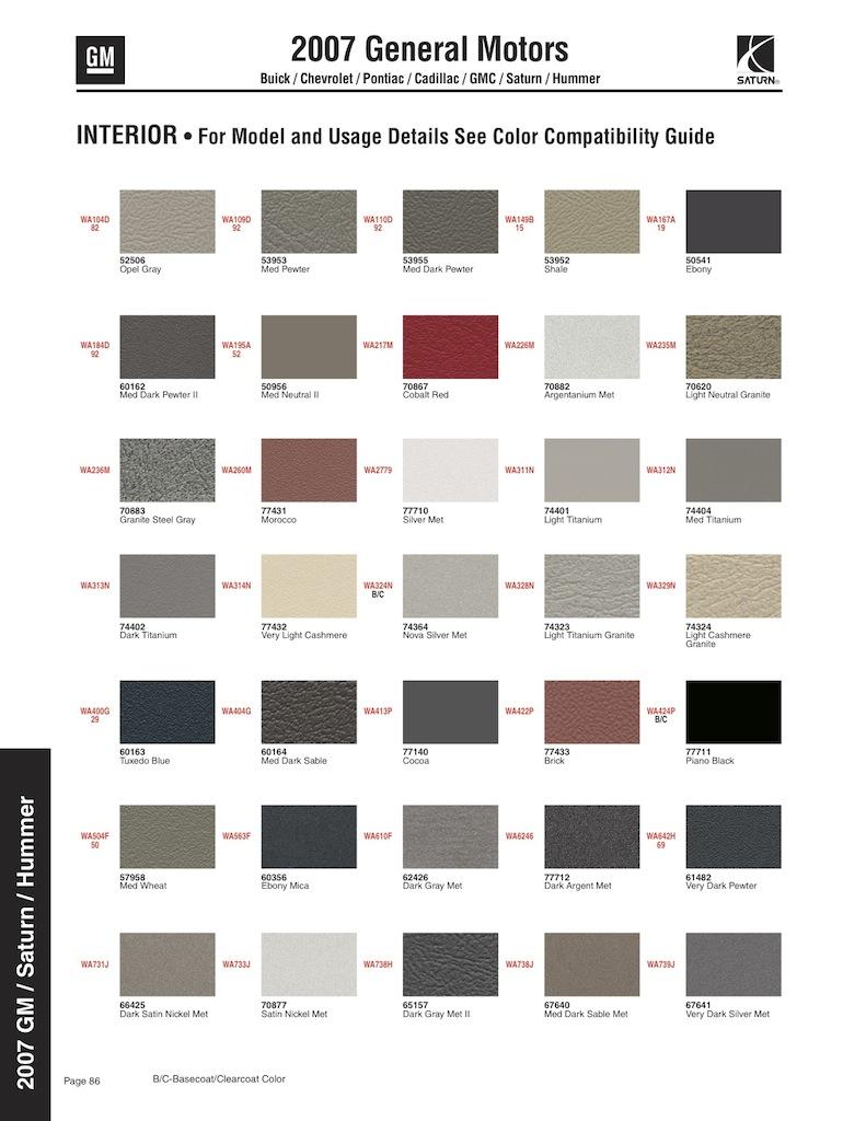 Chevy Silverado Paint Codes