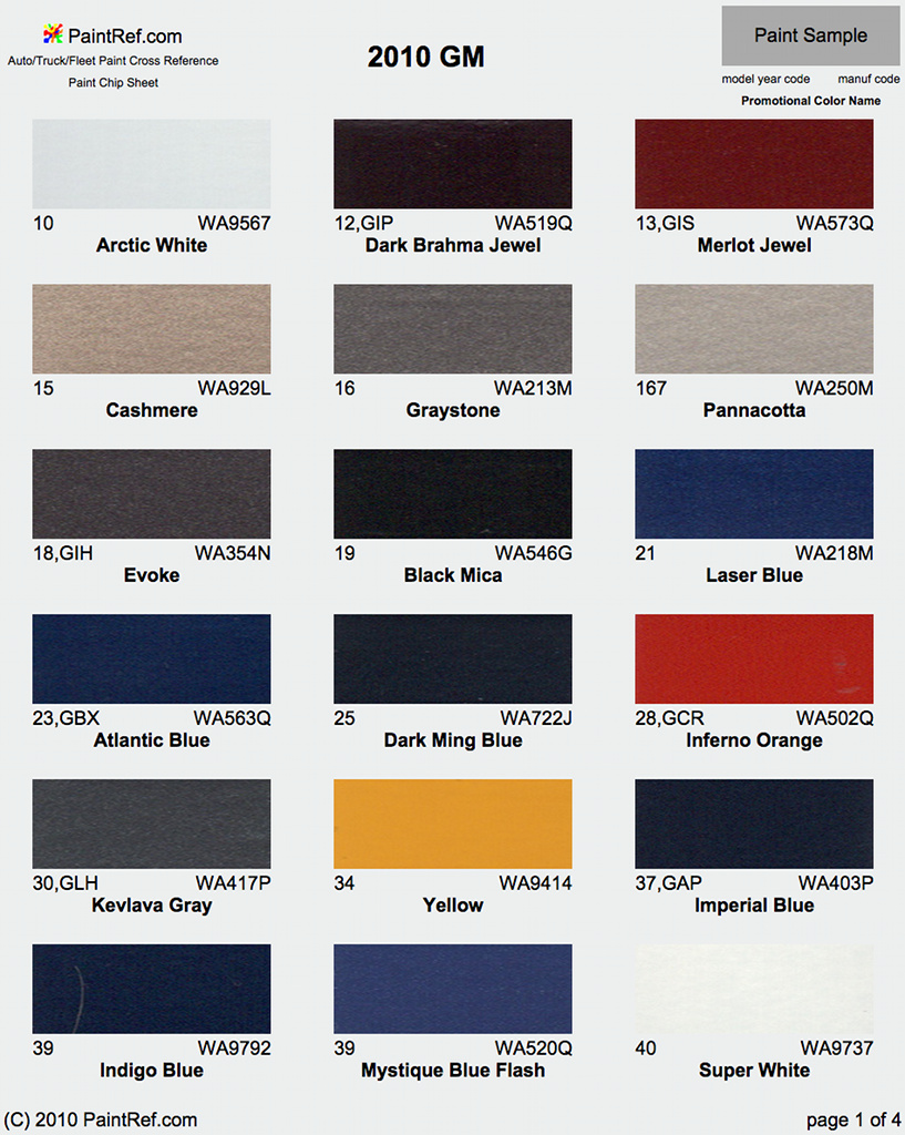 Gm Paint Codes >> Paint Chips 2010 Gm Chevy Truck