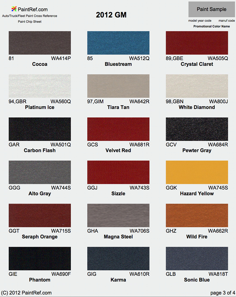 Chevrolet Cruze Paint Colors