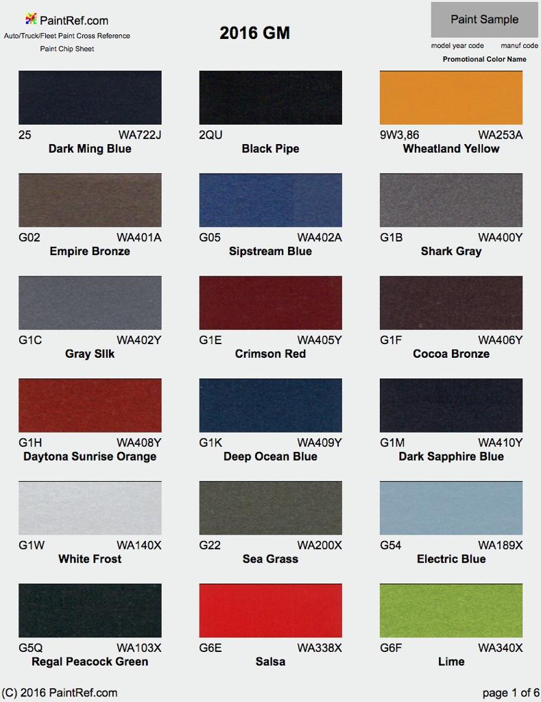 Cadillac Paint Codes