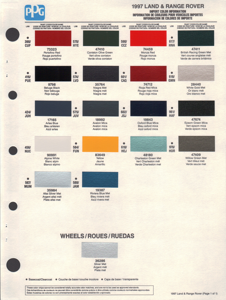Paint chips 1997 land rover range rover for Ppg paint coupons