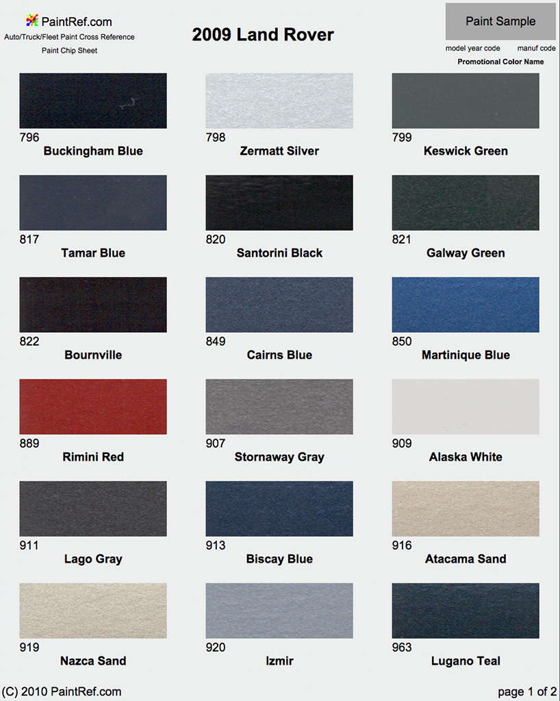 Land Rover Freelander  Car Paint Colour Chart