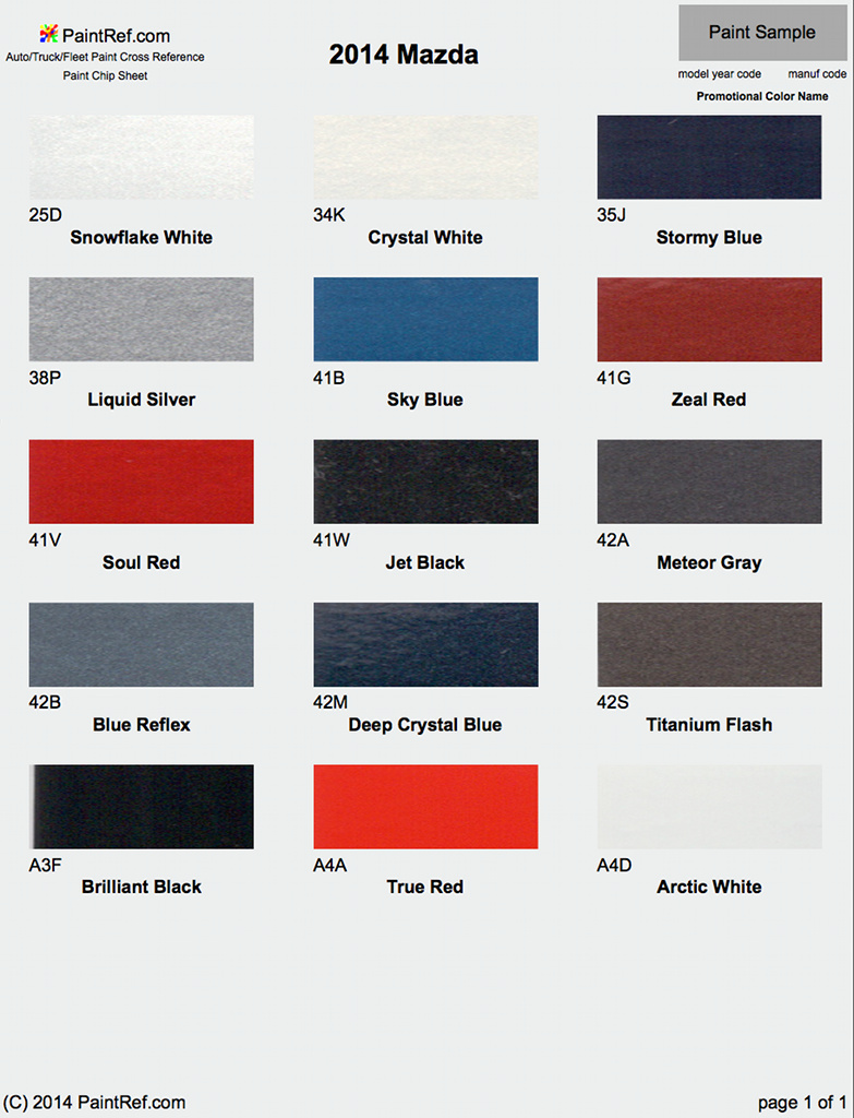 Paint Chips 2014 Mazda