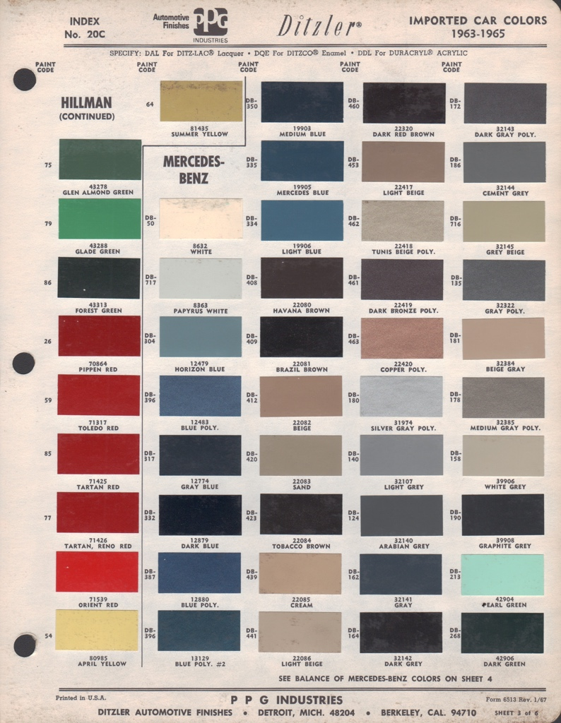 Paint chips 1963 mercedes benz for Mercedes benz color codes