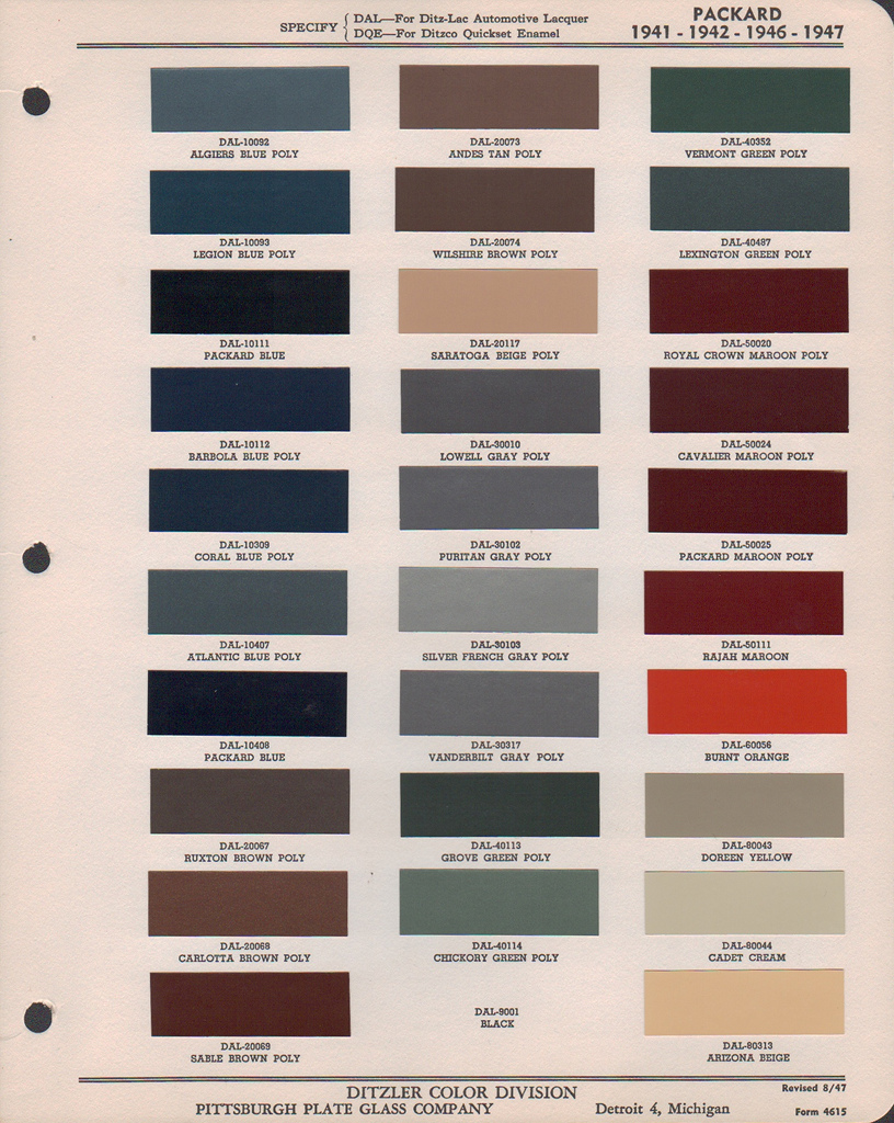 Packard Paint Colors