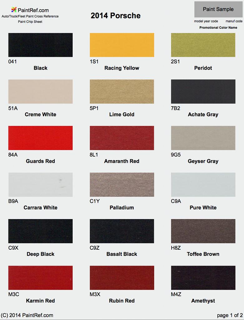 Porsche Paint Colors
