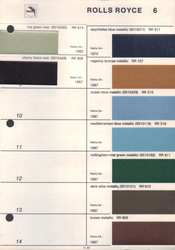 Rolls Royce Paint Color Chart