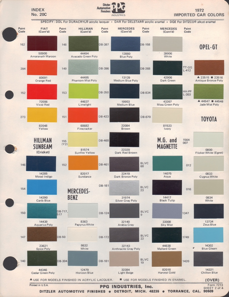 Paint Chips 1972 Toyota