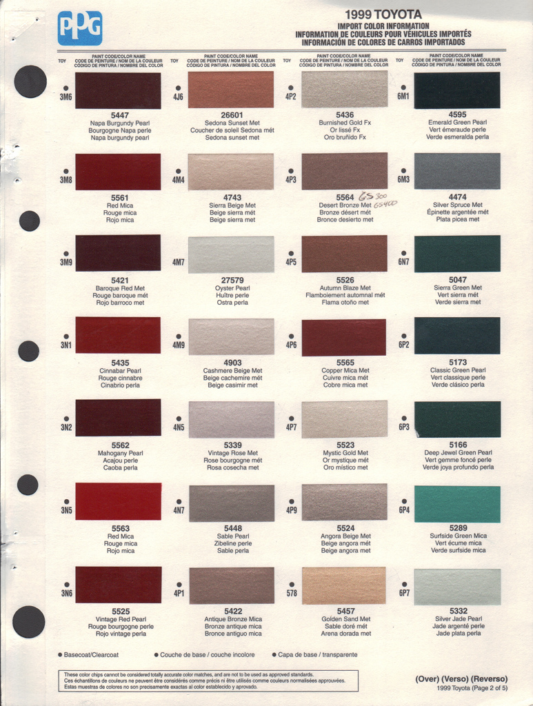 Paint chips 1999 toyota rav4 for 1999 toyota corolla paint code location