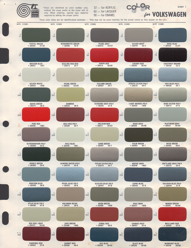 Paint chips 1955 volkswagen beetle for Paint color chips