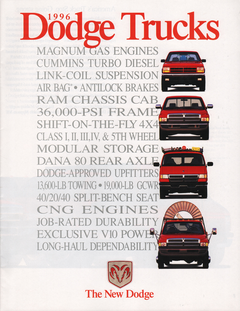 Chrysler 1996 Dodge Truck Sales Brochure 1949 Tow Company Marks Emblems And Designs Are Trademarks Or Service Of Please Respect The Time It Took To Acquire These Brochures