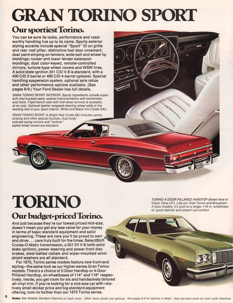 Ford 1975 Torino Sales Brochure Gran Sport Company Marks Emblems And Designs Are Trademarks Or Service Of Please Respect The Time It Took To Acquire These Brochures