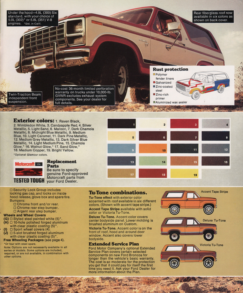 1980 bronco ford truck sales brochure rh paintref com 1980 ford f100 truck colors 1985 Ford Truck