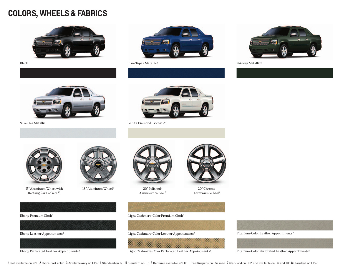 GM 2013 Chevrolet Avalanche Sales Brochure