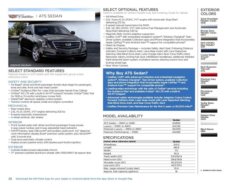 GM 2017 ATS Cadillac Sales Brochure