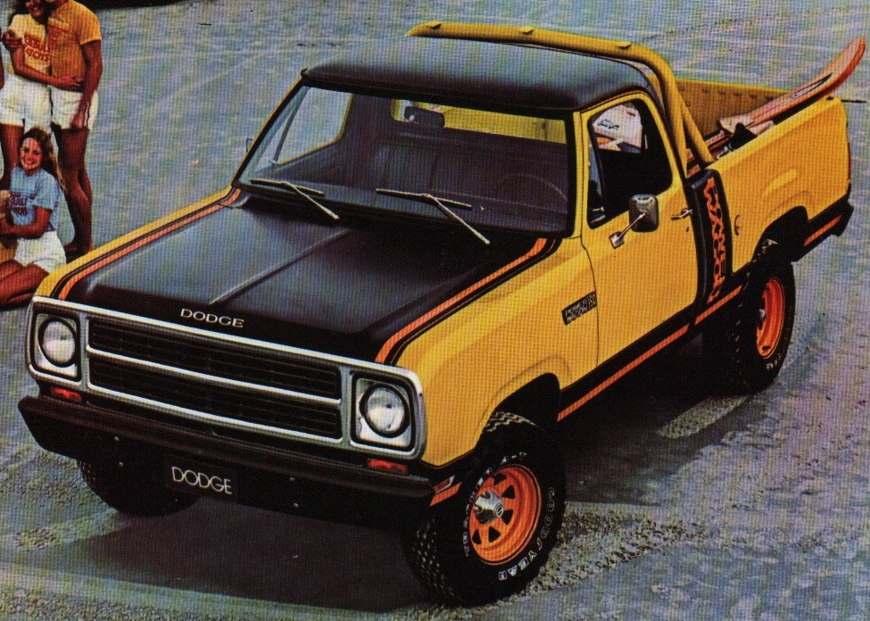 Example of Impact Yellow paint on a 1980 Chrysler Dodge Truck D-50