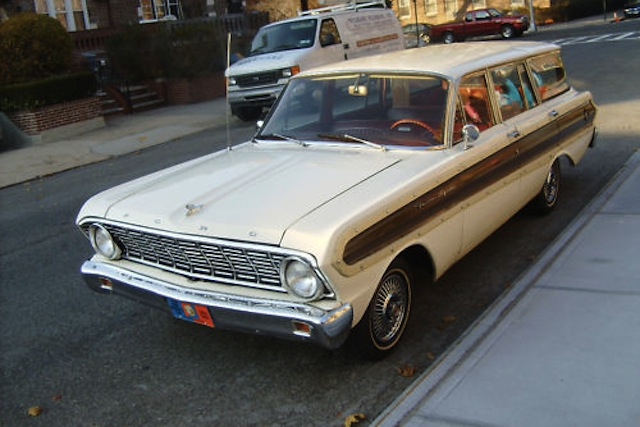 Wimbledon White 1964 Ford Falcon Squire Woody Station Wagon