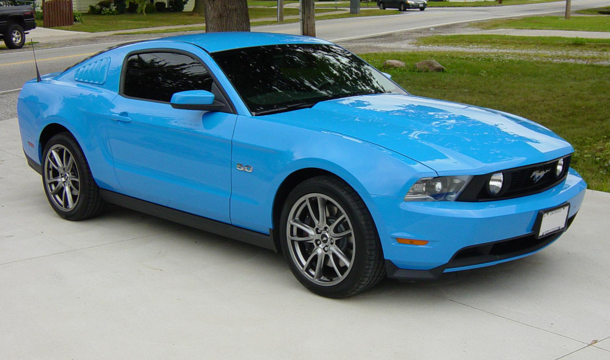 Example of grabber blue paint on a 2014 ford mustang