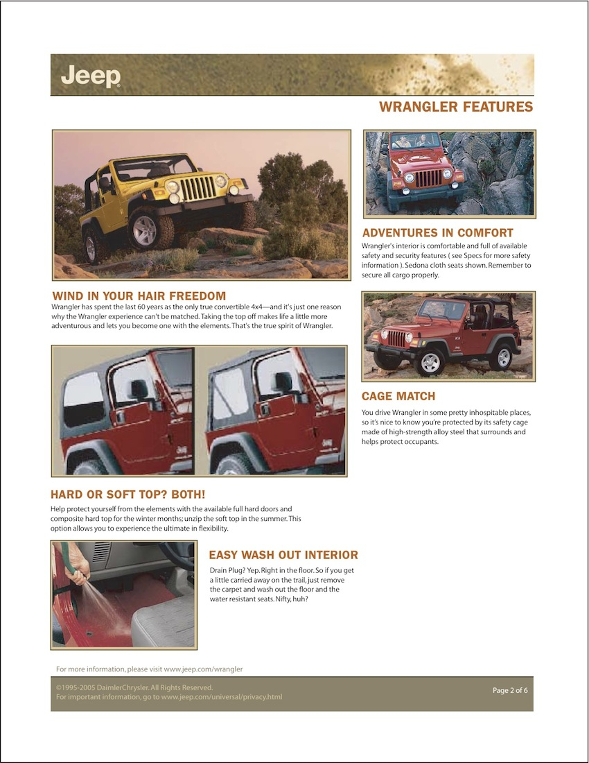 Chrysler 2006 Wrangler Jeep Sales Brochure Drain Brochures Are Presented For Research Use Only Company Marks Emblems And Designs Trademarks Or Service Of
