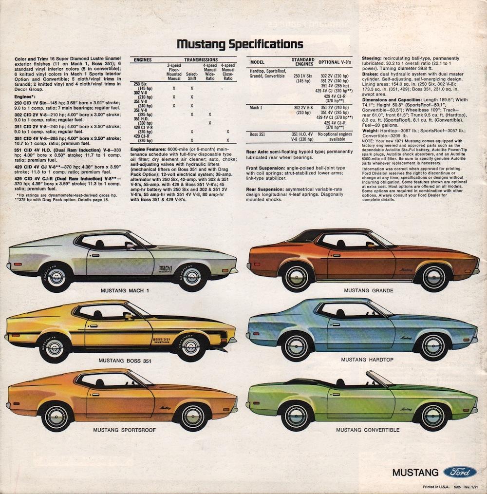 Ford 1971 Mustang Sales Brochure 1970 Thunderbird Specs