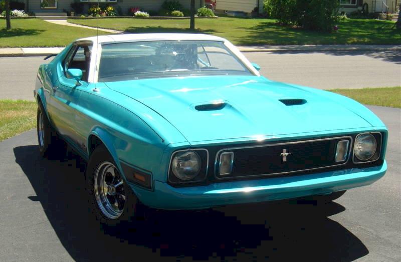 Medium Aqua 1973 Ford Mustang